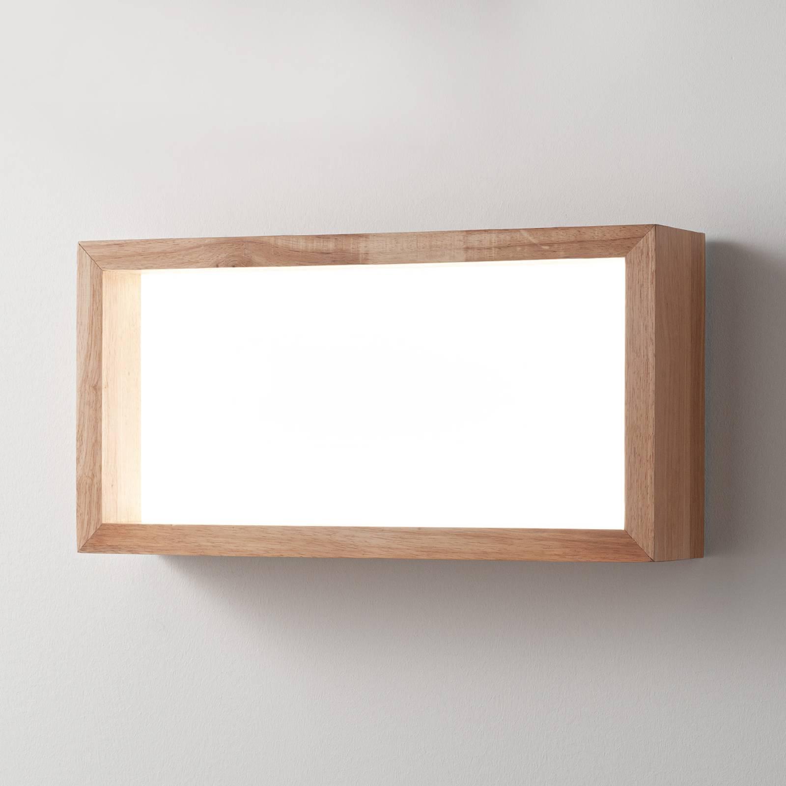 LED wandlamp Window, 60 x 60 cm, eikenhout
