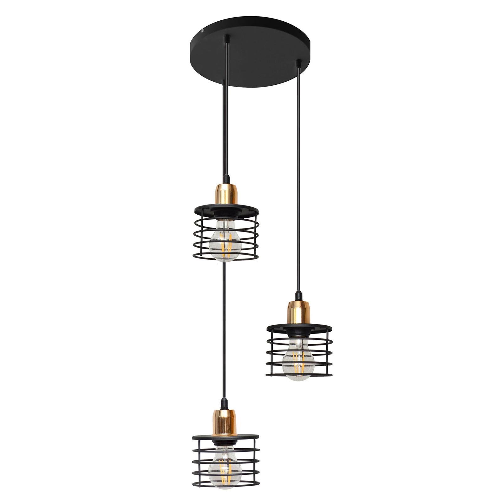 Suspension Edison en noir/cuivré à 3 lampes ronde