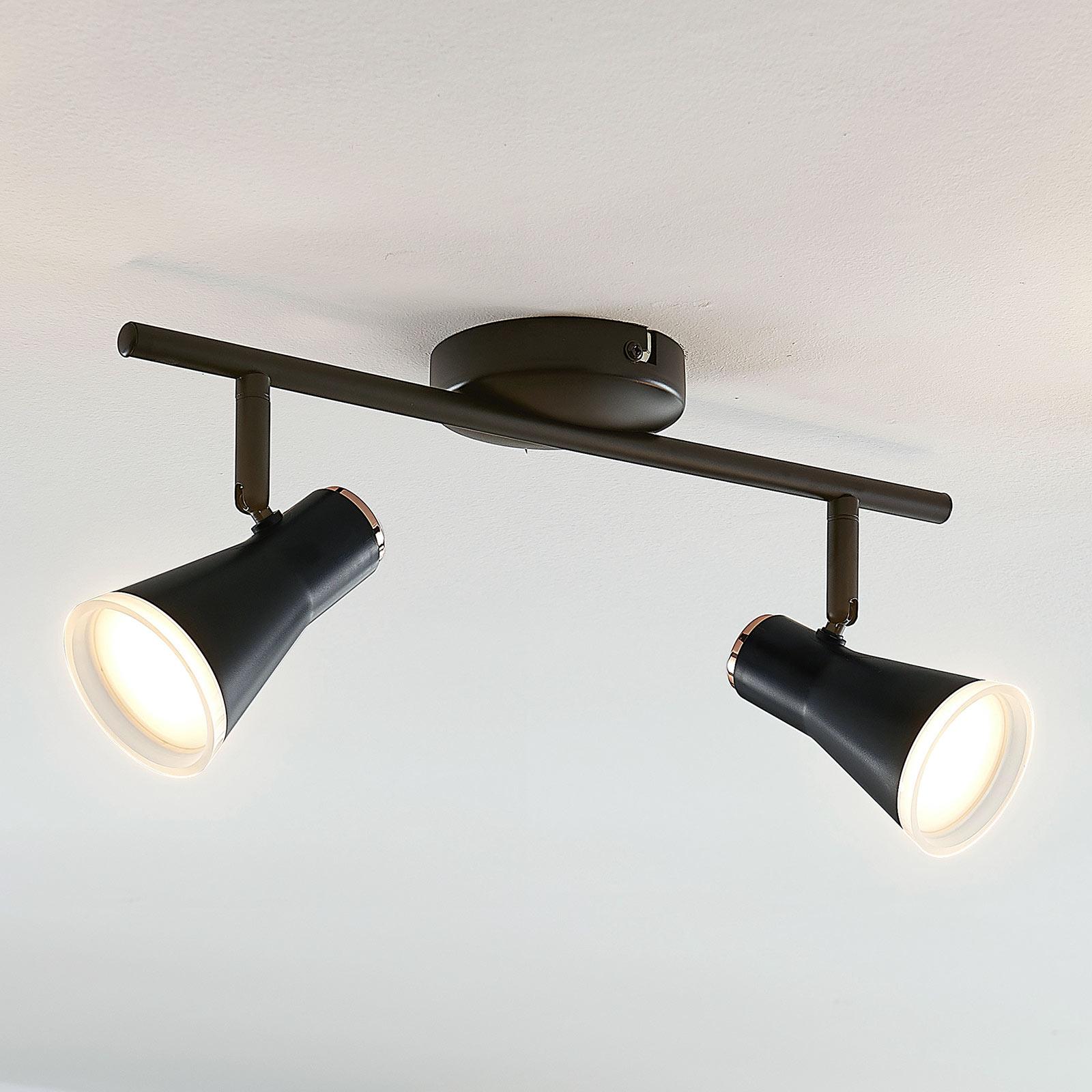 Lindby Michiko LED-Deckenstrahler, schwarz, 2-fl.