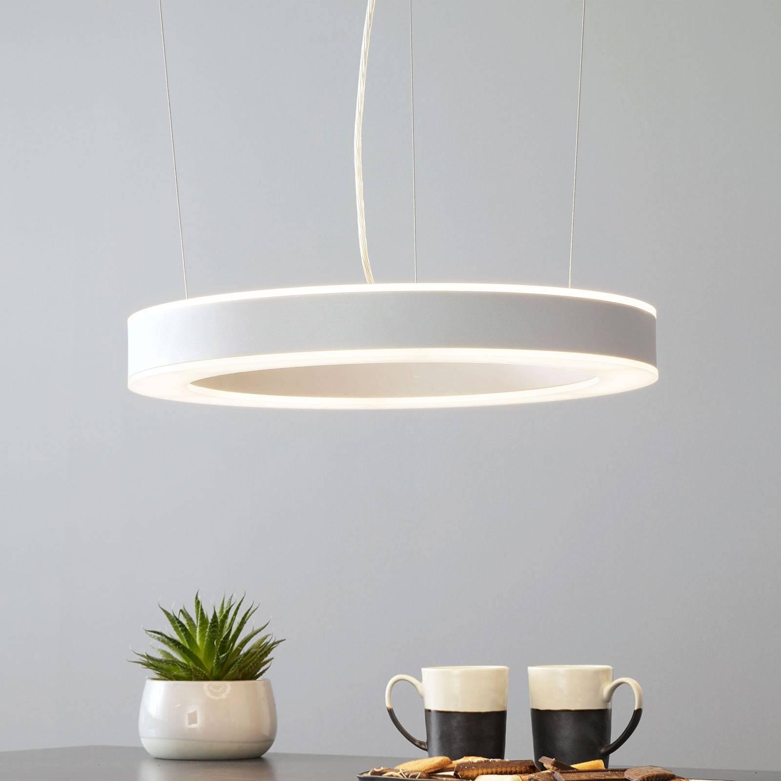 Arcchio Pietro suspension LED argentée 50cm 60W