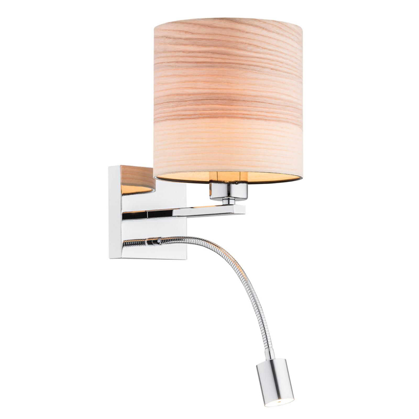 Vegglampe Harris med leselampe, krom / lyst tre