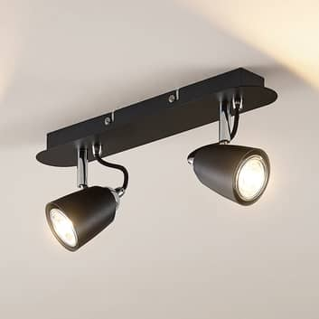 Lindby Noria foco de techo, negro, 2 luces