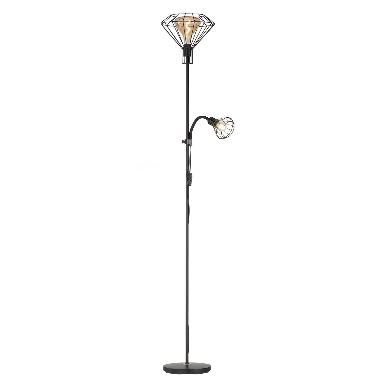 Vloerlamp Stev van metaal met leeslamp