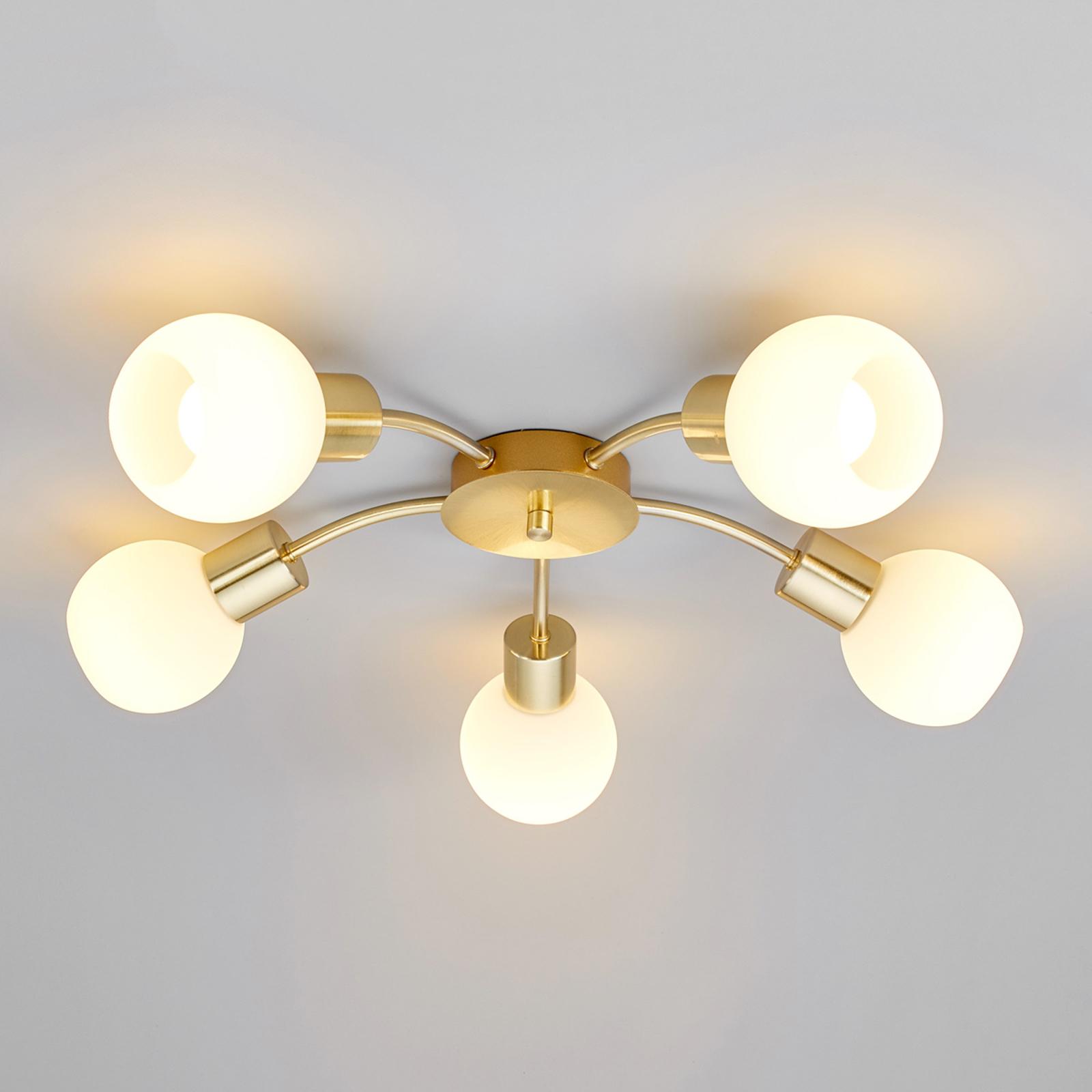 Elaina LED-plafondlamp in messing, 5-lichts