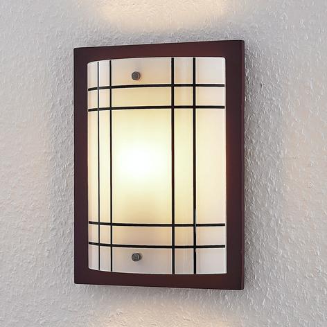 Drewniana lampa ścienna Thees ze szkłem w kratę