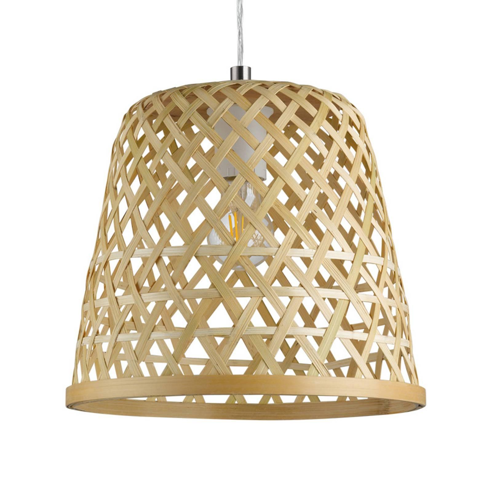 Lampa wisząca Kirkcolm z drewnianym kloszem 30cm