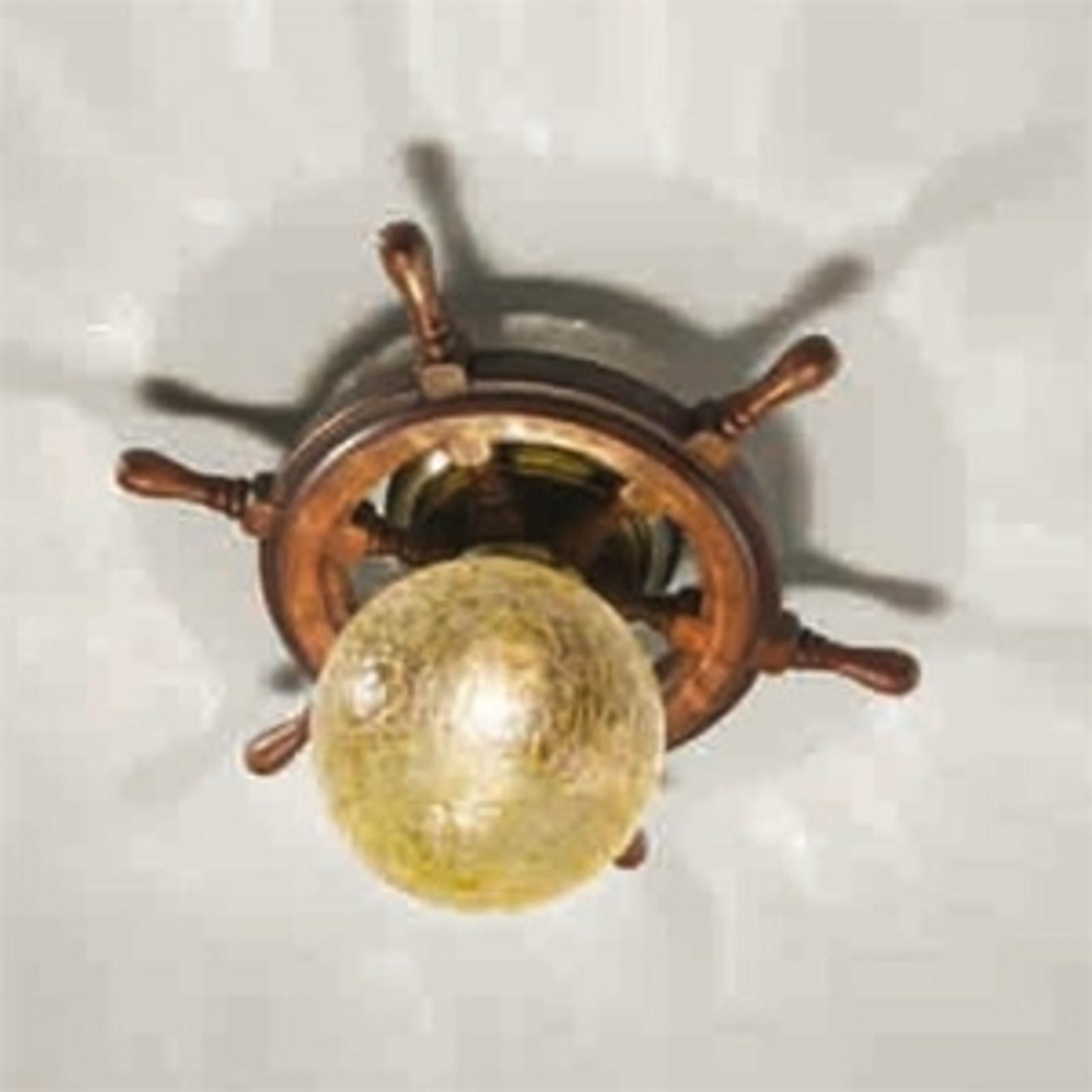 Vacker plafondlampa Timone, ambra klotglas