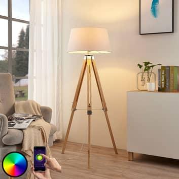Lindby Smart-LED-gulvlampe Alessa, trefod, app RGB