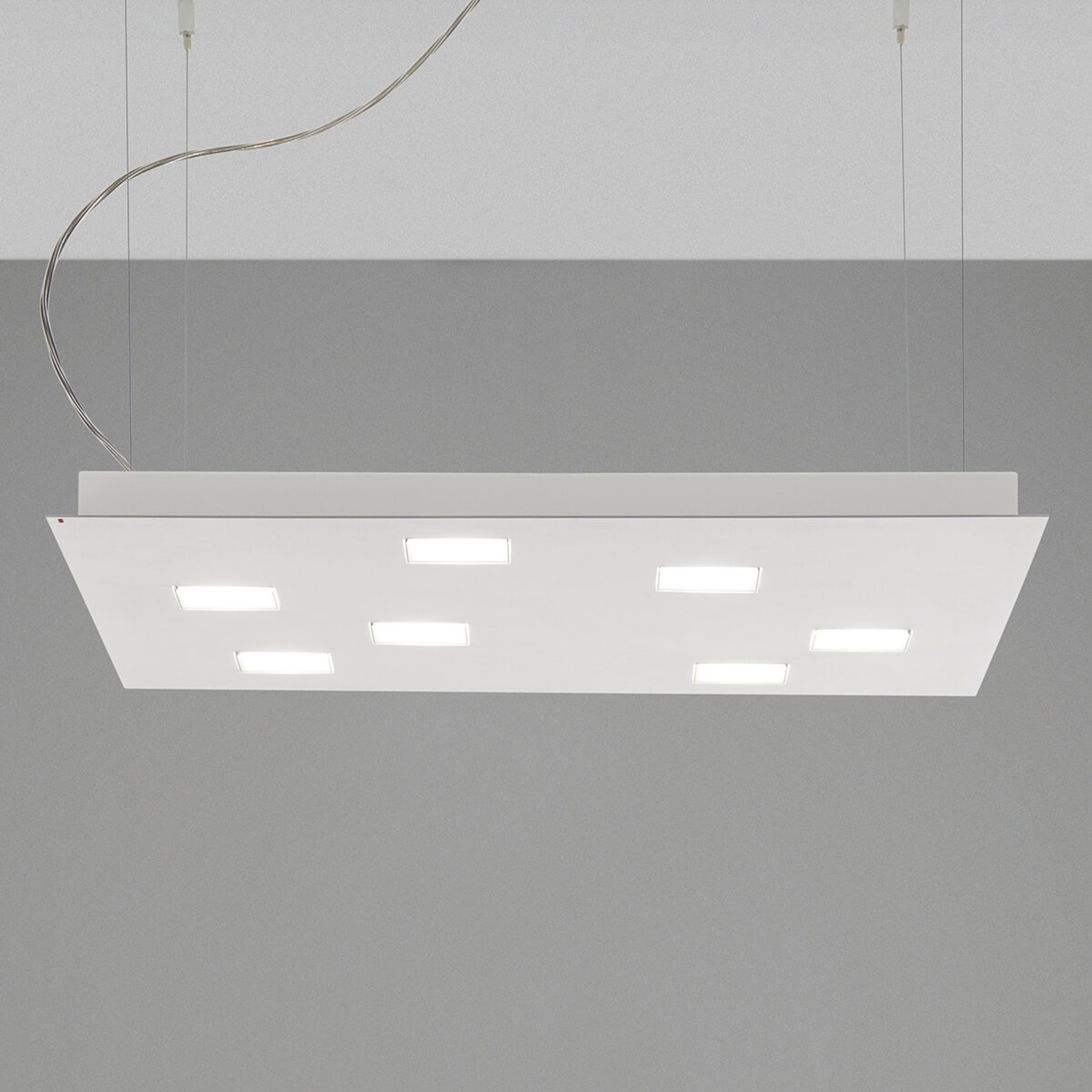 Fabbian Quarter - weiße LED-Hängeleuchte 7flg.