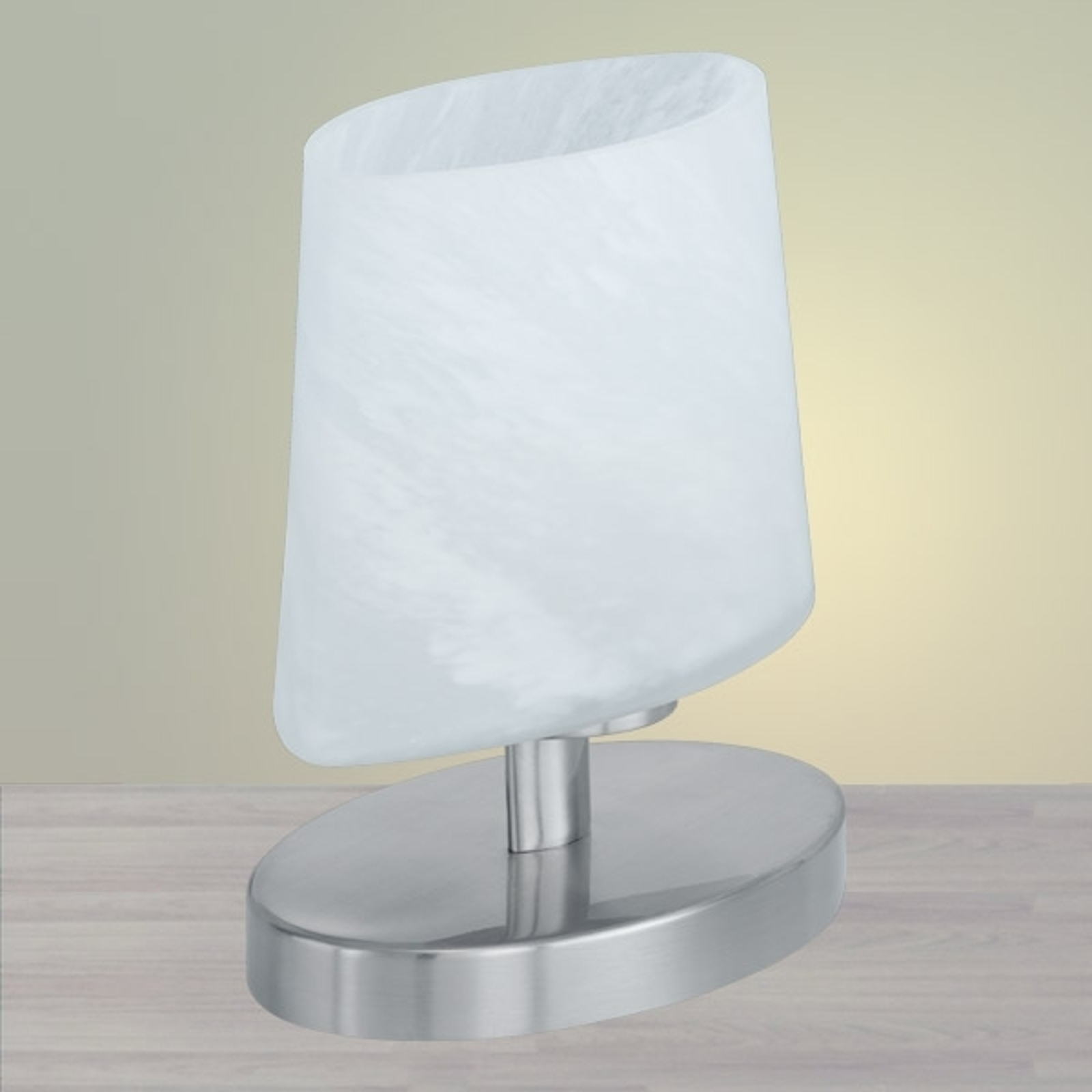 Kleine ovale tafellamp met glazen kap