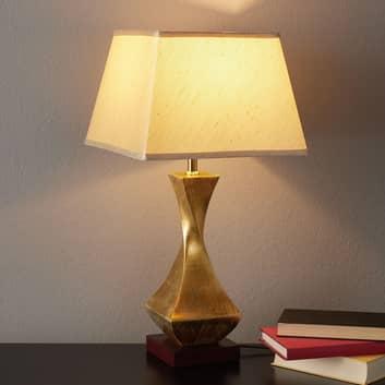 Llamativa lámpara de sobremesa Deco, base dorada