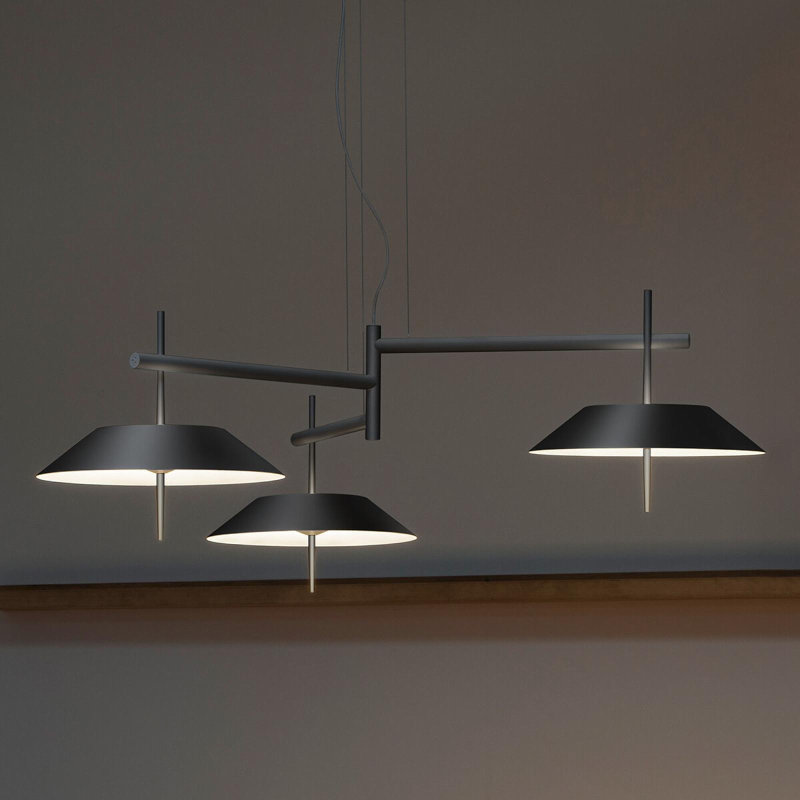 Suspension LED Mayfair 3 lampes, gris graphite