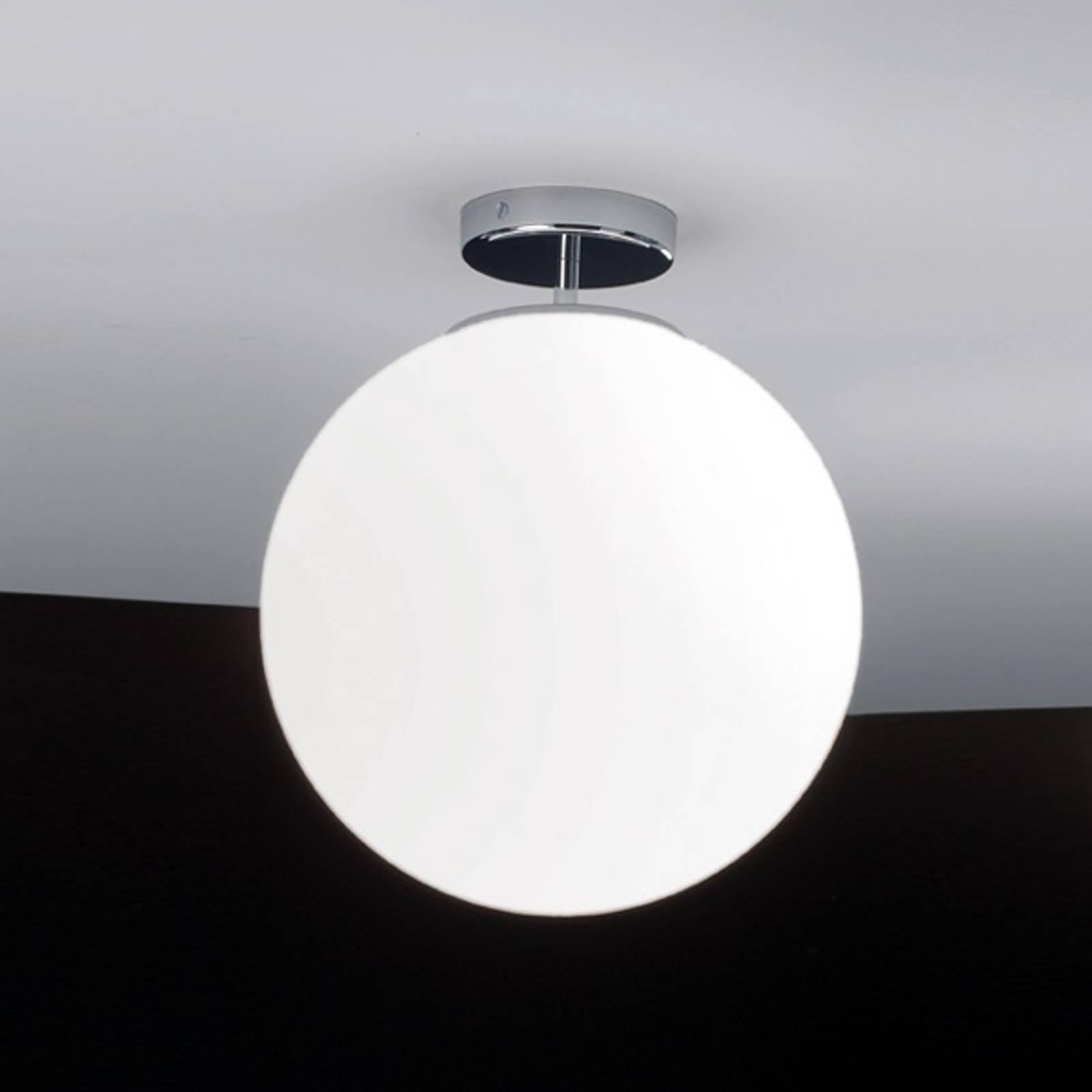 Glazen plafondlamp Sferis, 30 cm, chroom