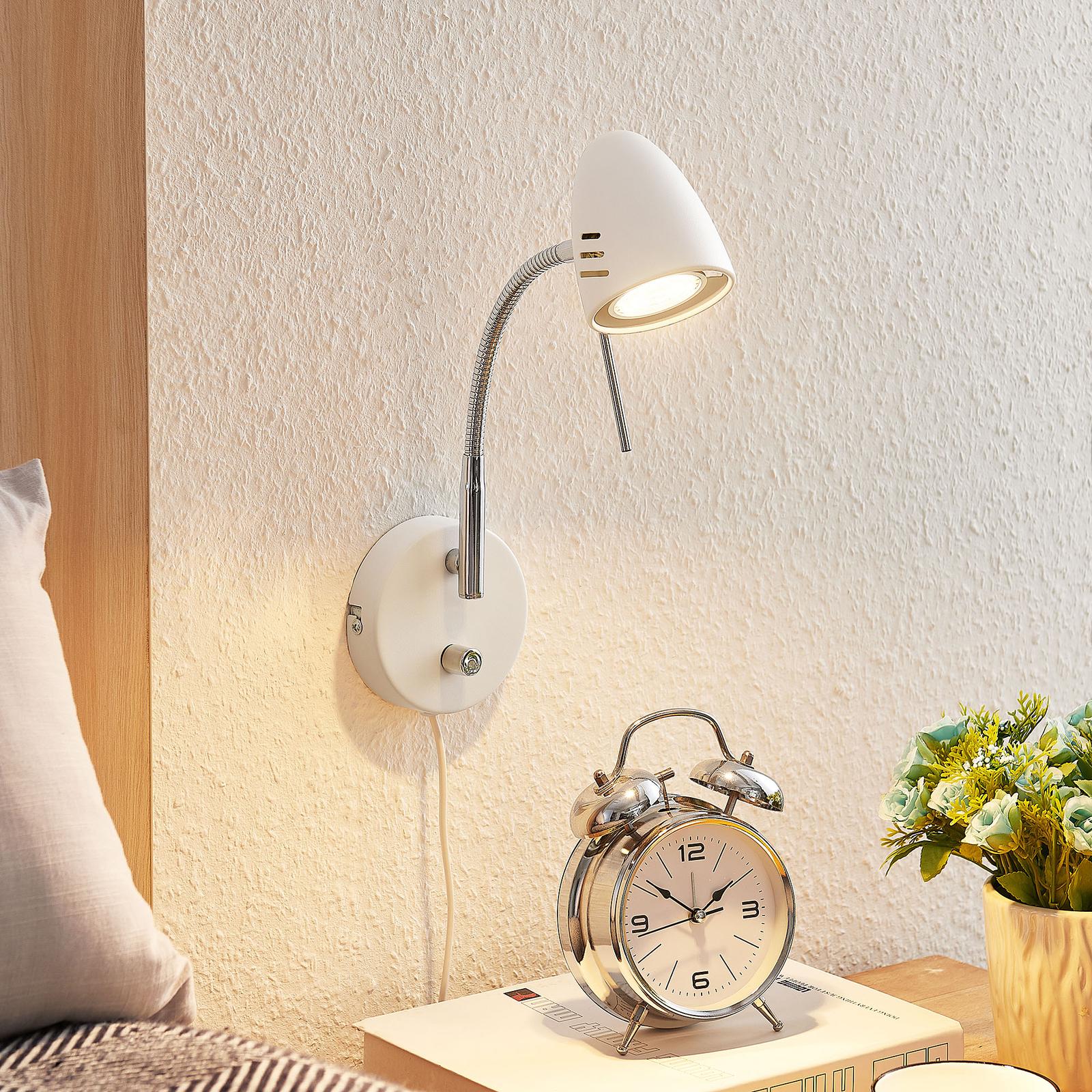 Lindby Heyko LED-væglampe med stik, dæmpbar
