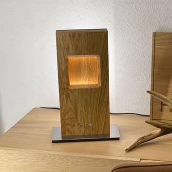 HerzBlut Pan LED tafellamp, eiken geolied, dimbaar