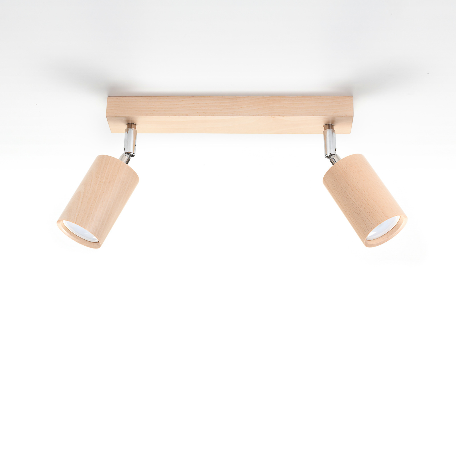 Reflektor sufitowy Cre z drewna, 2-punktowy