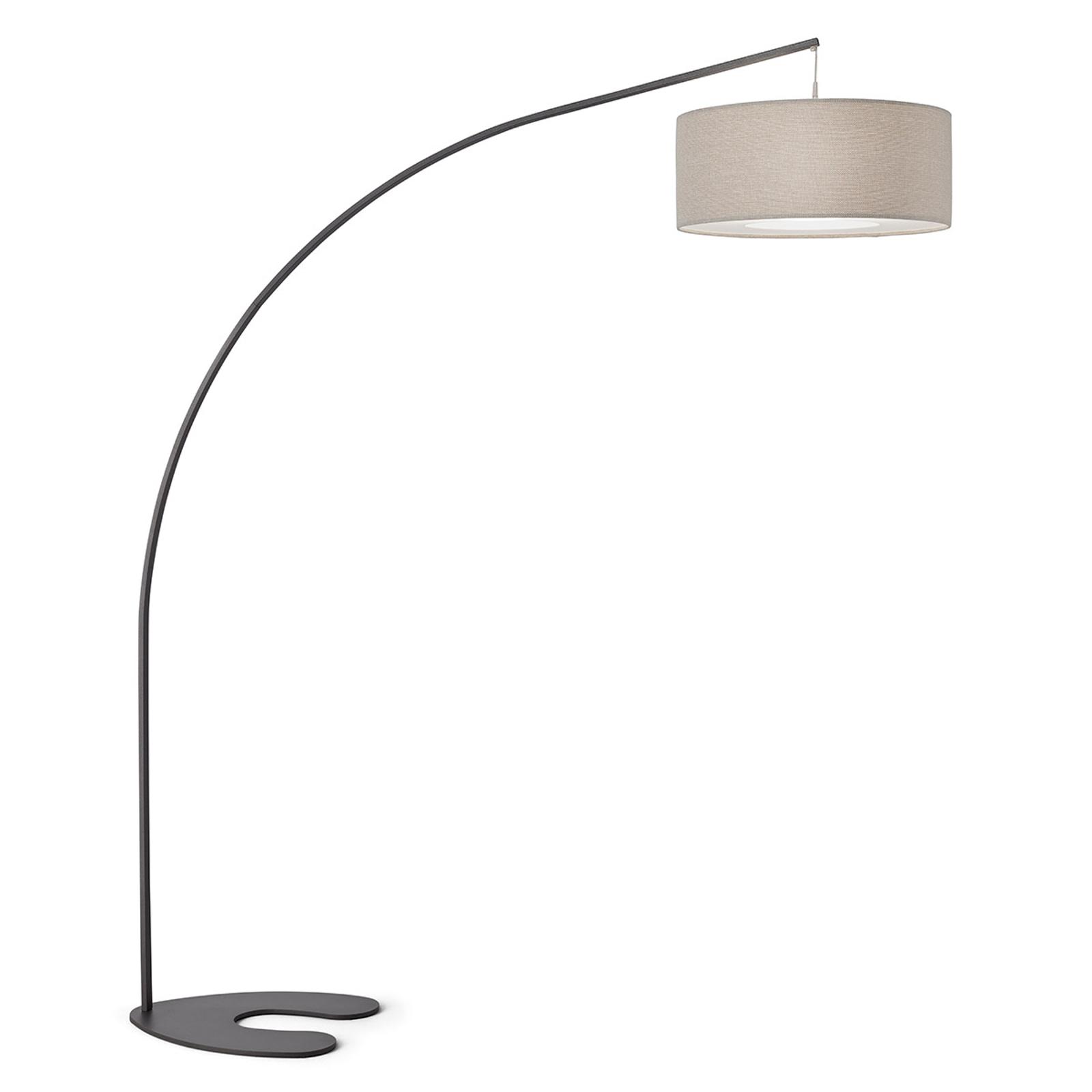 Lampa łukowa Domino z kloszem tekstylnym
