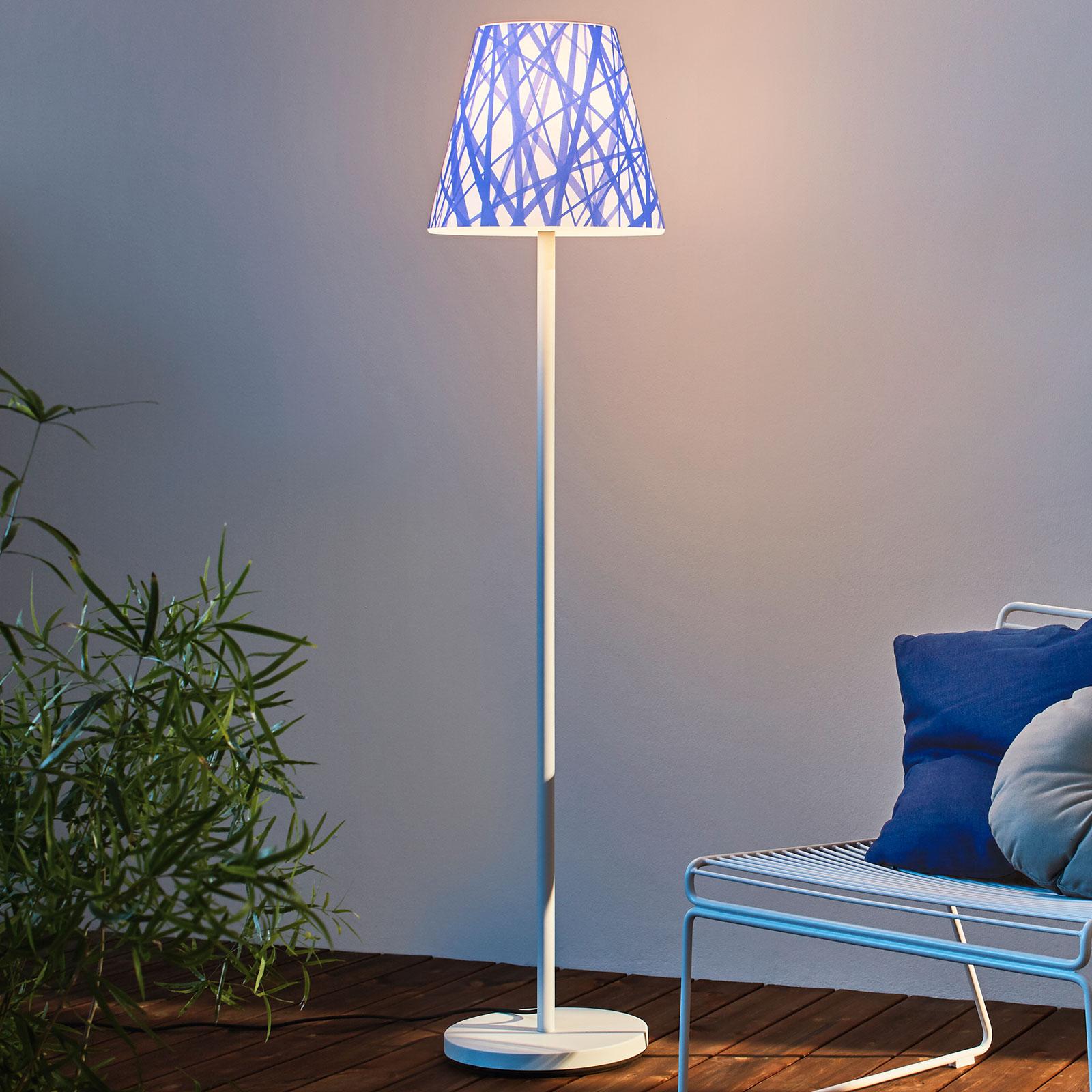 Lámpara de pie Swap Outdoor, pantalla blue lines