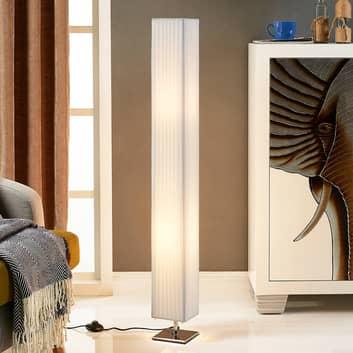 Hvid stof-gulvlampe Janno