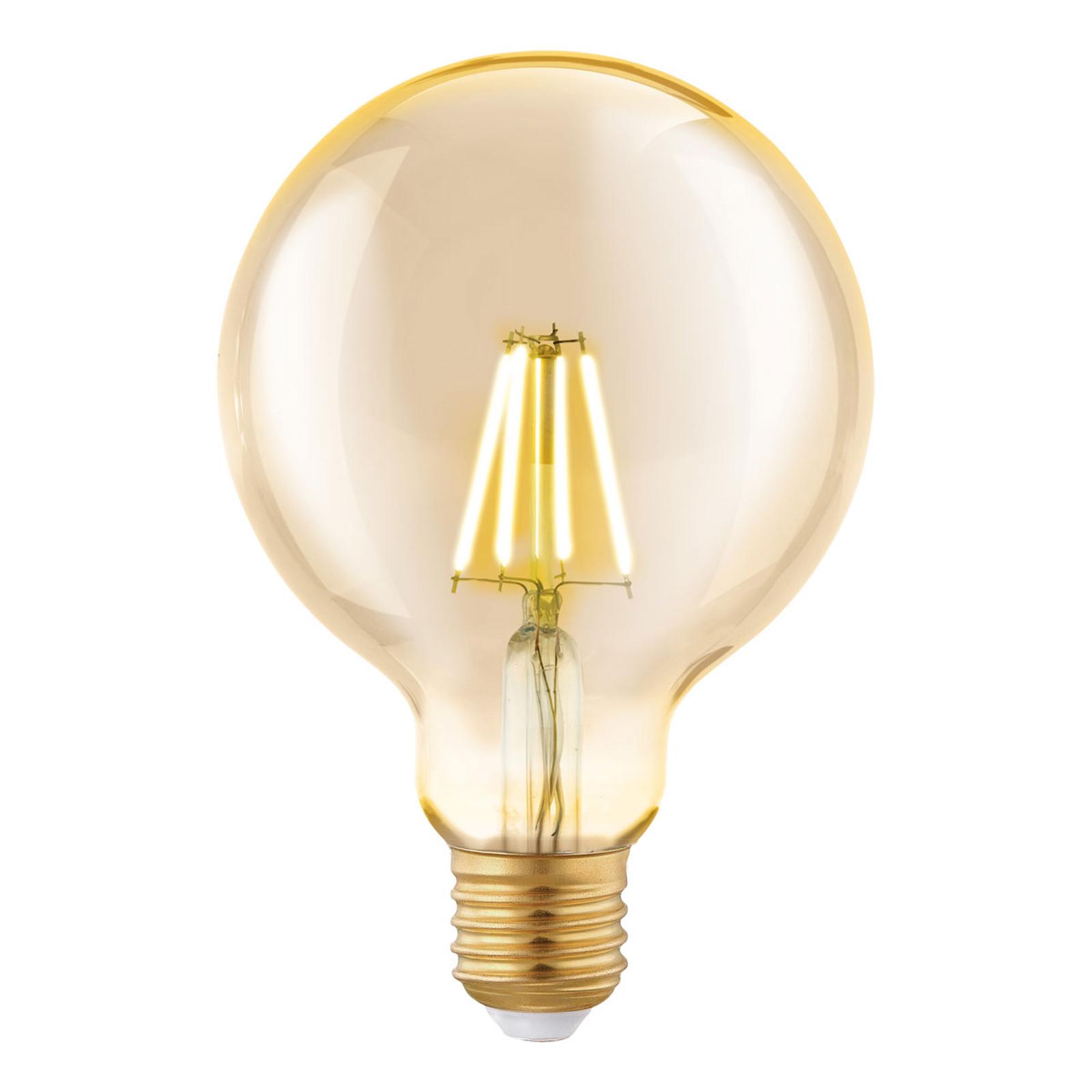 LED globe E27 G95 4W a filamenti, ambra