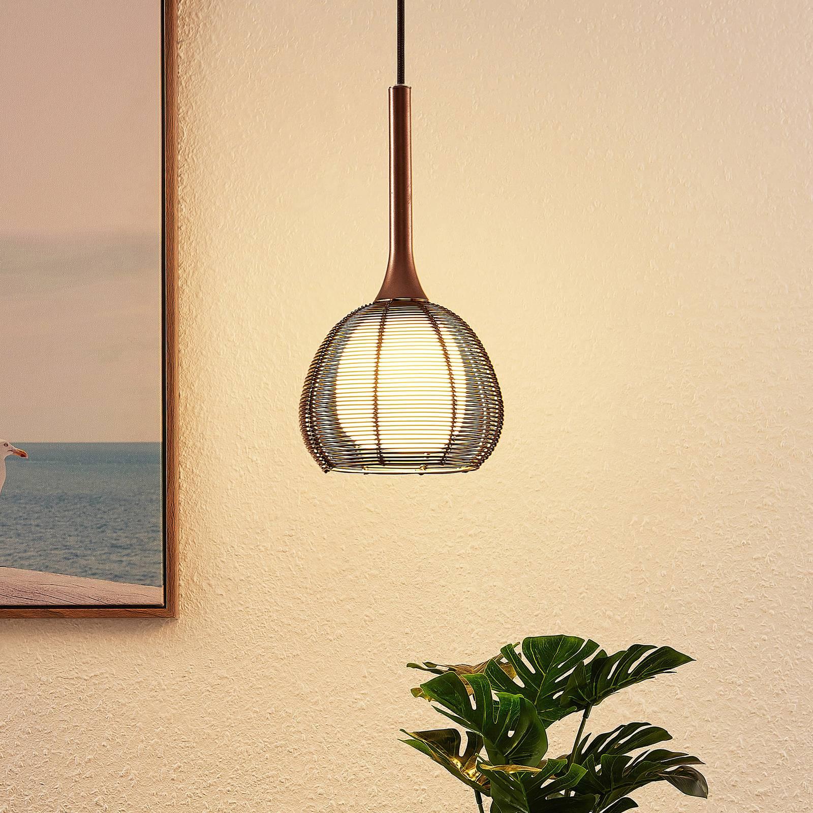 Lucande Tetira sospensione 1 luce, 16,5 cm marrone