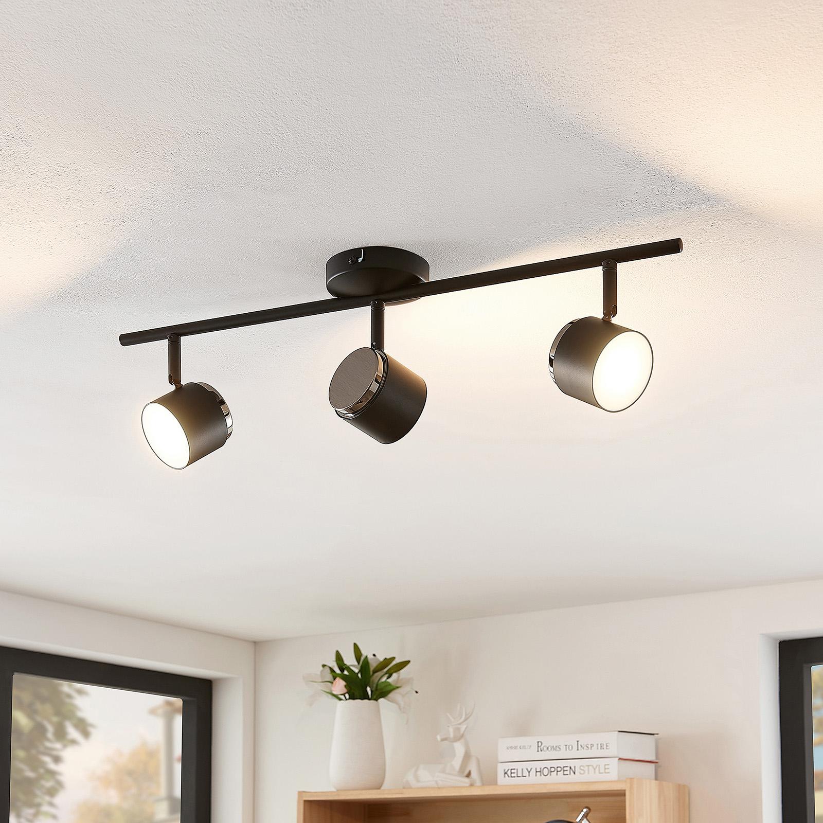 Lindby Marrie LED-Strahler, schwarz, 3-fl., Stange