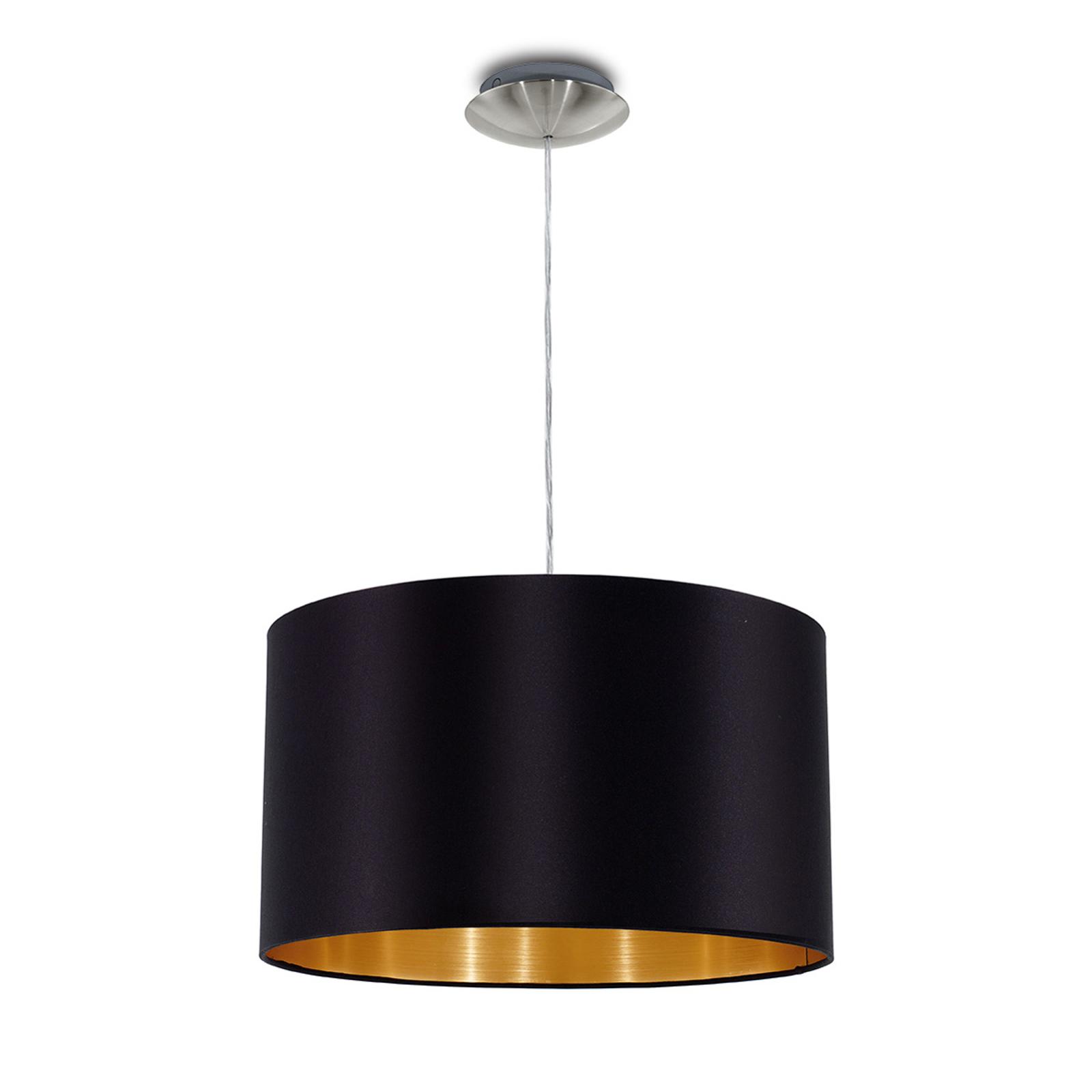 Textilná závesná lampa Lecio, 38cm čierna