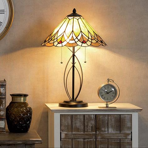 Tafellamp 5186 met amberkleurige glazen kap