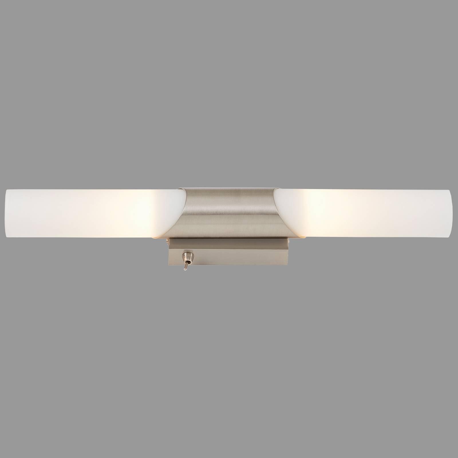 Badkamer wandlamp Splash, 2-lamps, mat nikkel