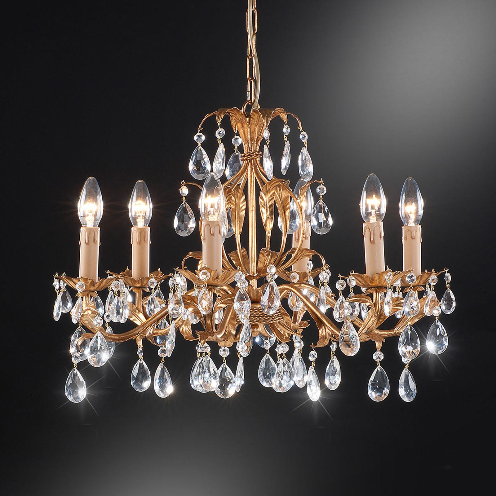 Lustre 90/6 à 6 lampes avec pendentif en verre
