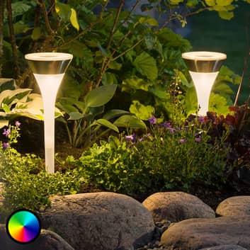 Solardrevet jordspydlampe Assisi med RGB-LED
