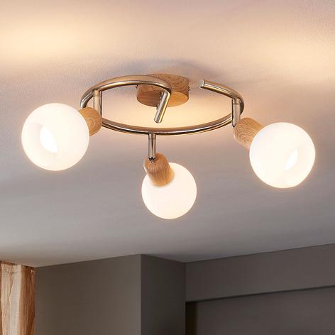 Plafonnier rond en bois Svenka, LED E14