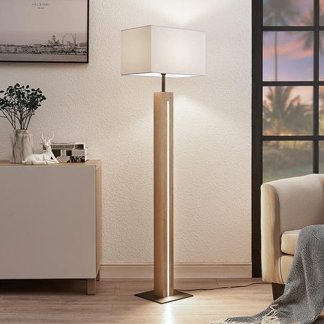 Lampára de suelo Garry, tela y madera, angular