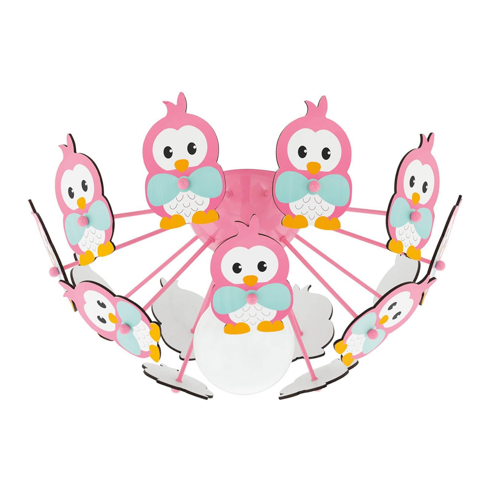 Deckenleuchte Viki 2 mit Pinguinen pink