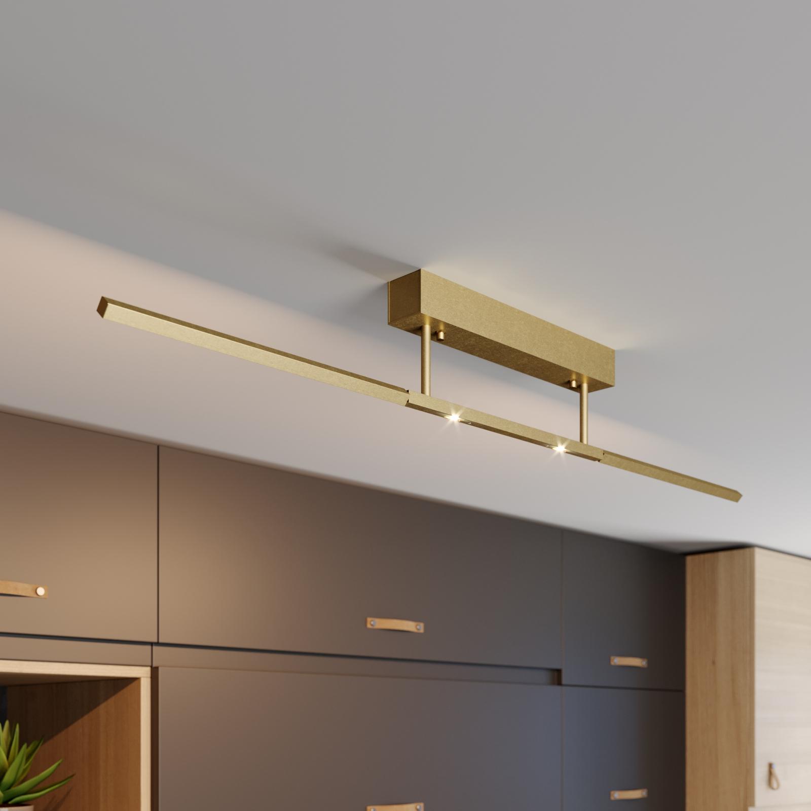 Lucande LED-Deckenleuchte Tolu, messing, 119 cm
