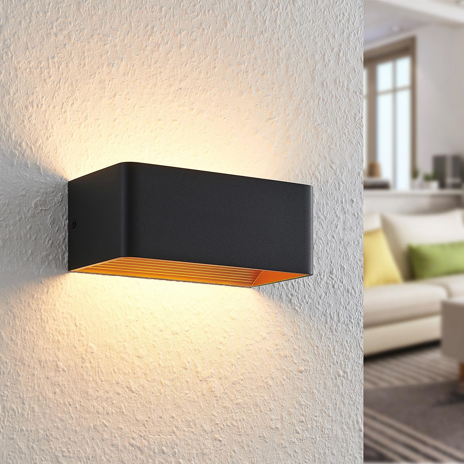 Arcchio Karam LED wandlamp, 20 cm, zwart