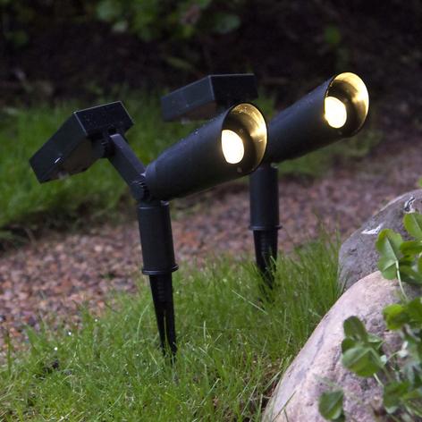 LED-solcellelampe Powerspot 2-pakning med jordspyd