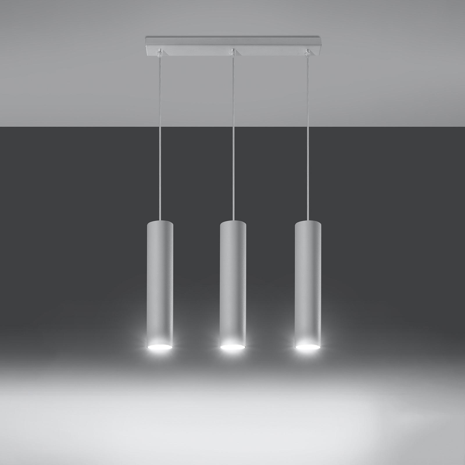 Lampa wisząca Tube, biała, 3-punktowa