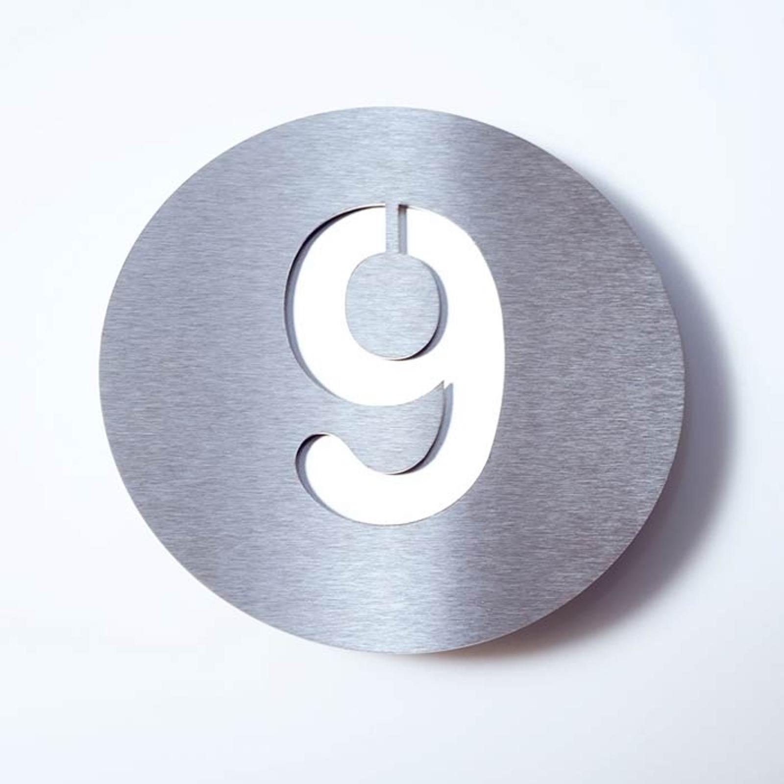 Número de casa Round de acero inoxidable - 9
