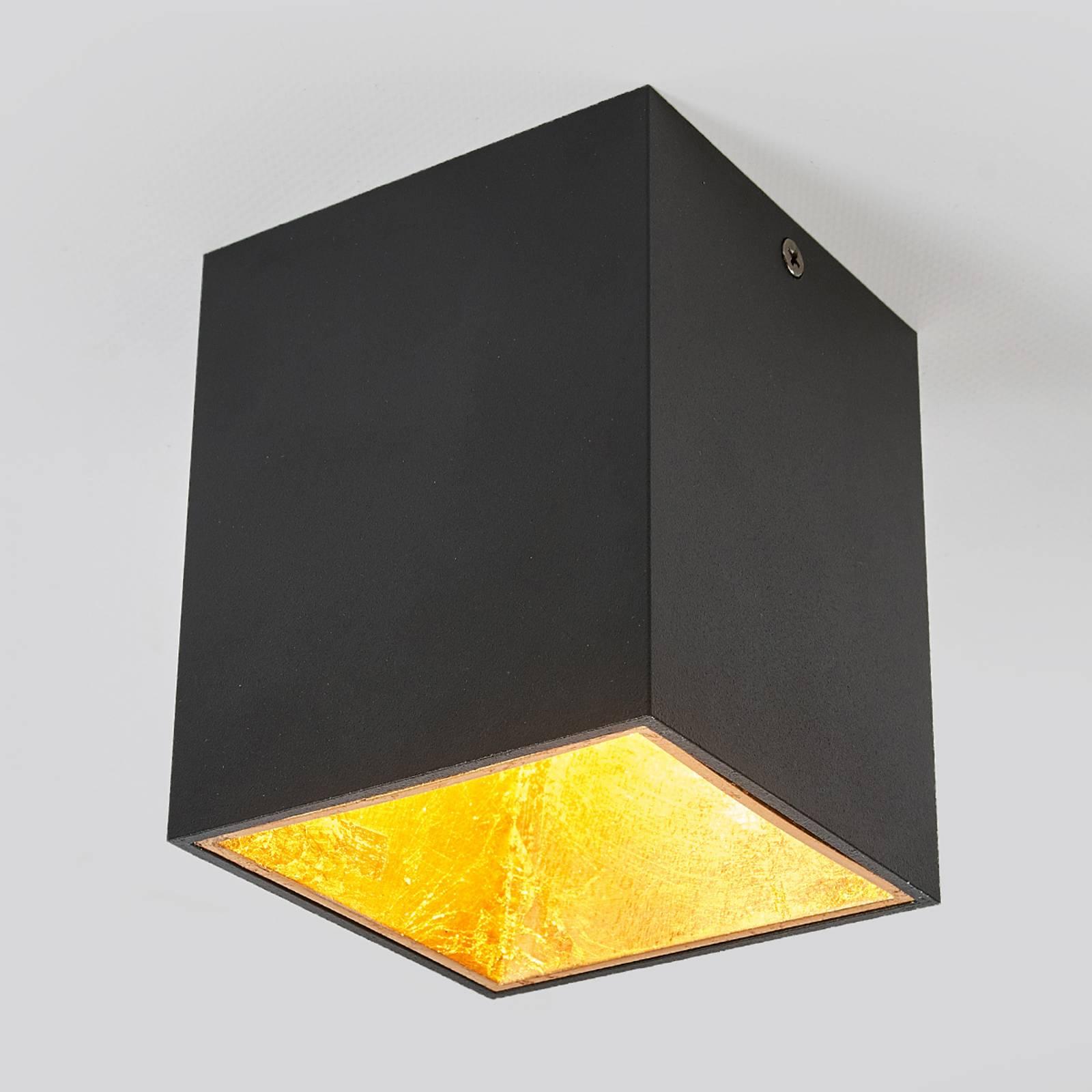 Kubusvormig LED plafondlamp Juma, zwart-goud
