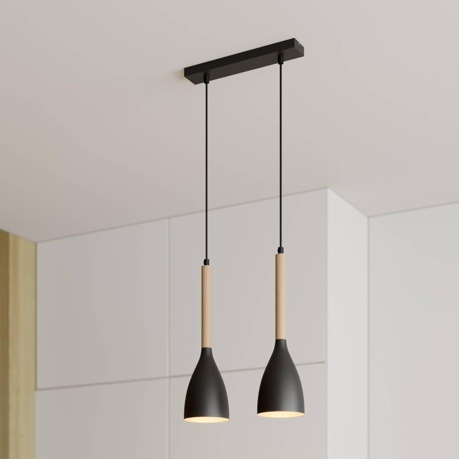 Suspension Muza à 2 lampes, noire/dorée