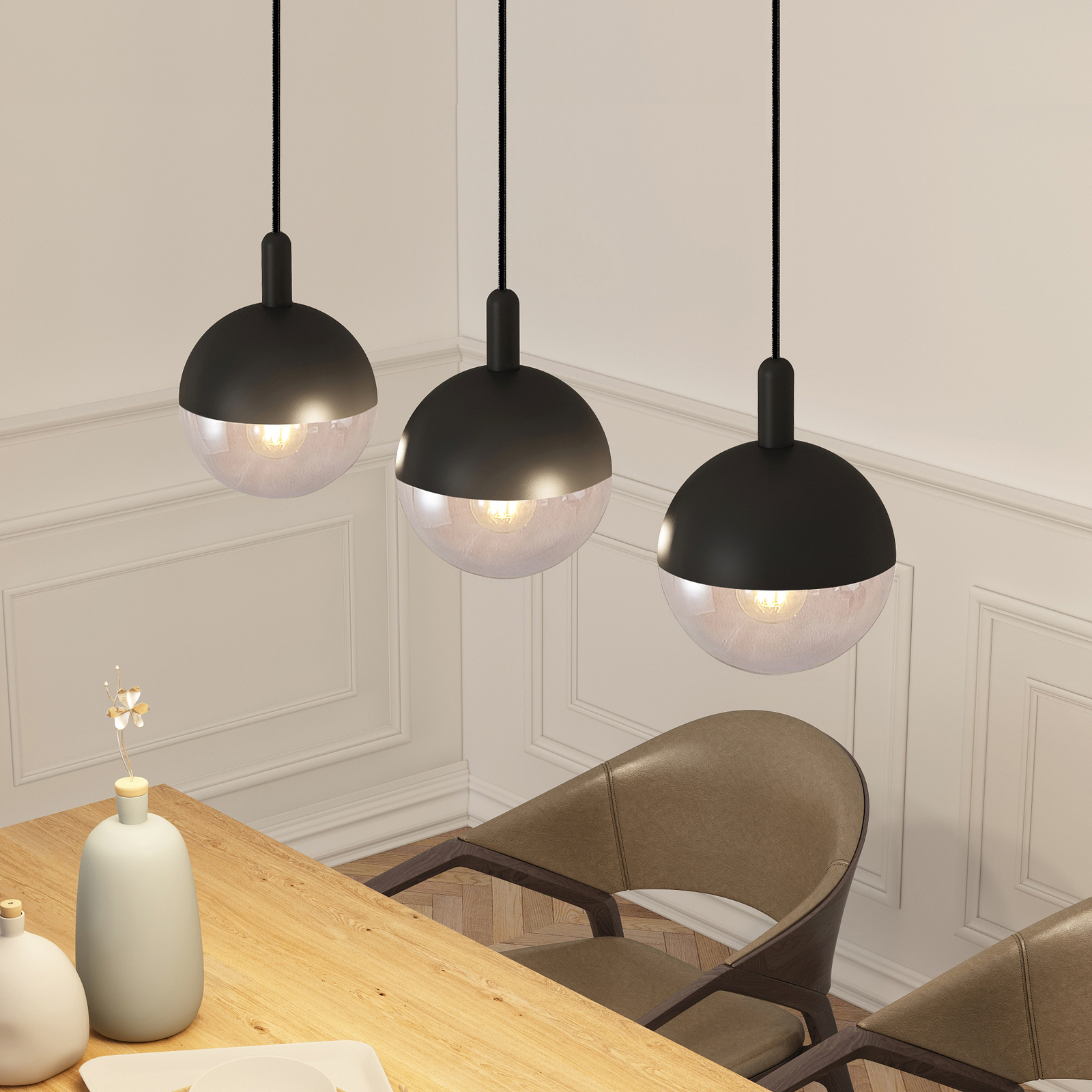 Lucande Dustian hänglampa, 3 lampor, 90 cm