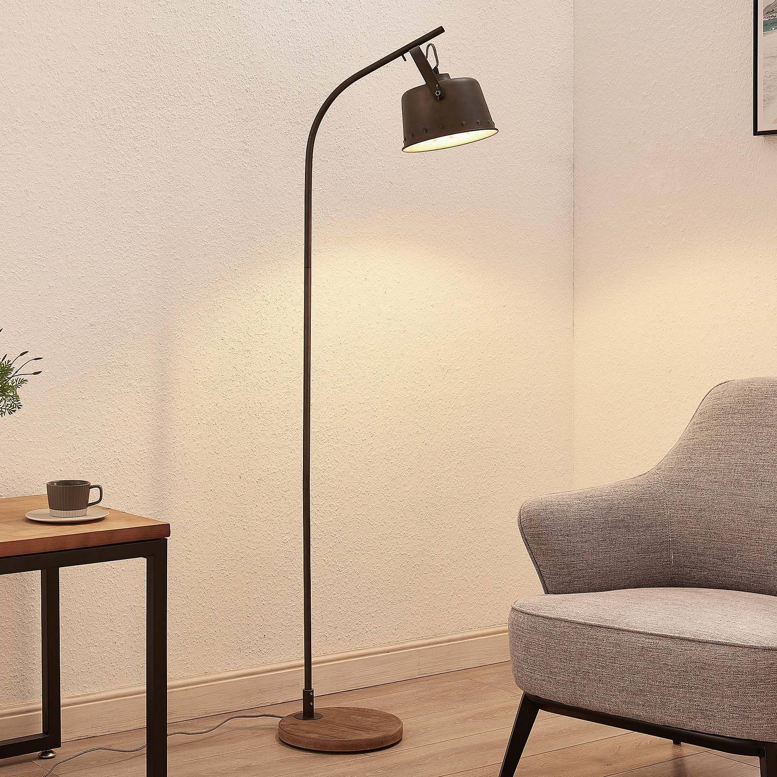 Lindby Rubinjo lampadaire pied en bois, à 1 lampe