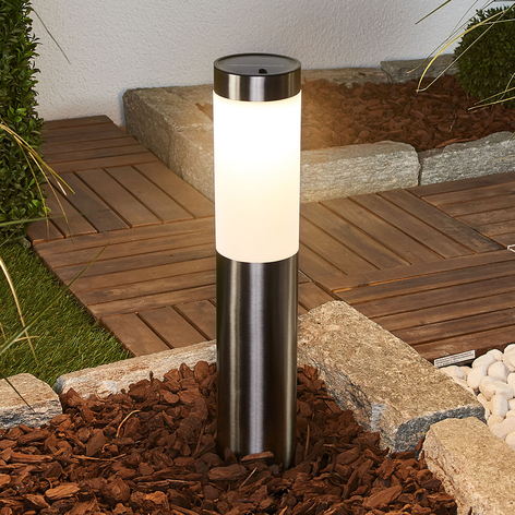 Solarna lampa cokołowa LED Lenni, stal szlachetna