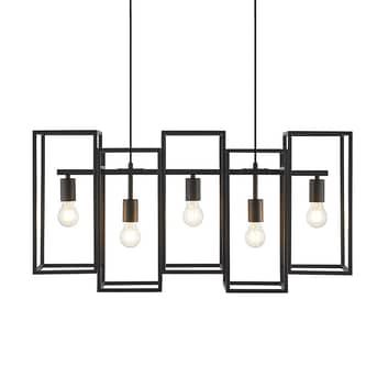Lucande Andrik colgante, 5 luces, cuboide, negro
