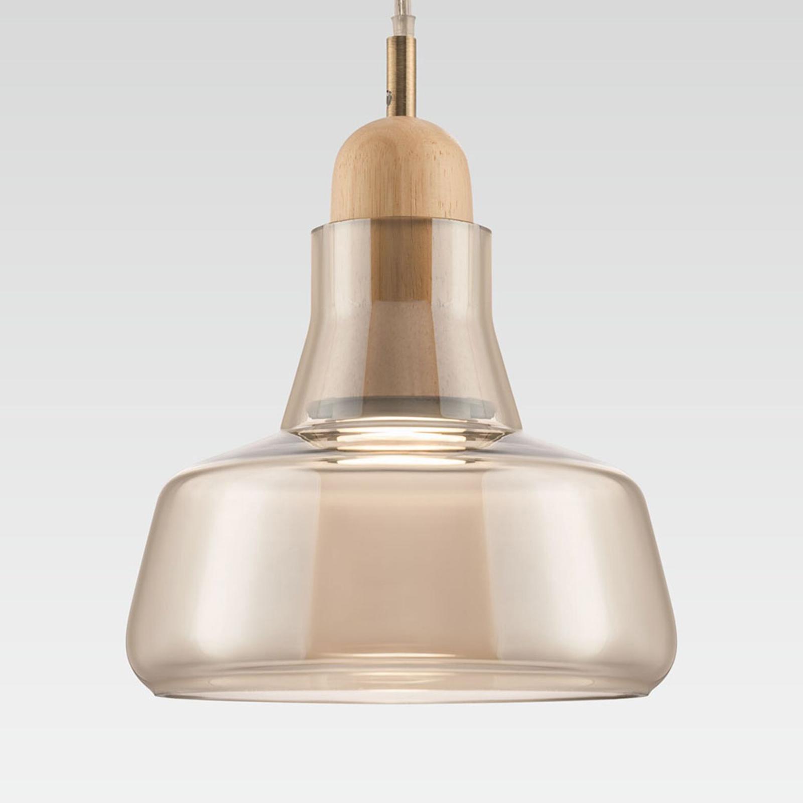 Lampa wisząca Ola szklany klosz Ø 15cm, bursztyn