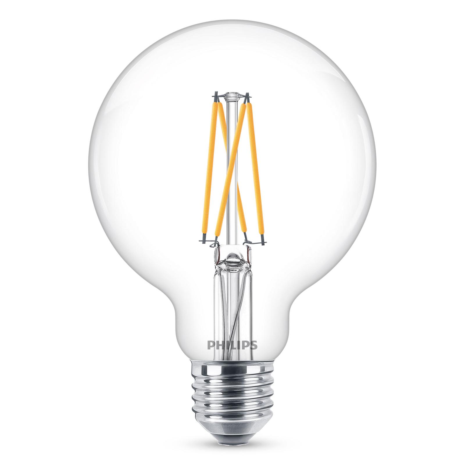 Philips E27 6W LED-Globelampe G95 klar dimmbar 927