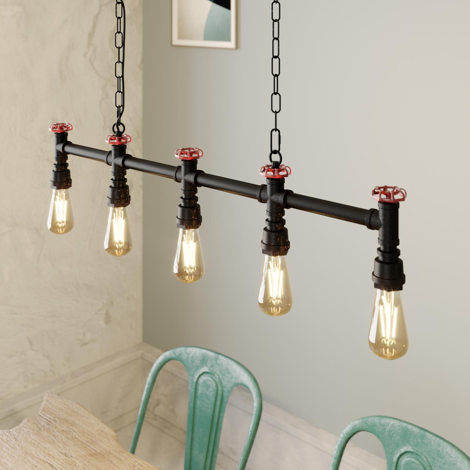 Lindby Zlata hanglamp, 5-lamps, industriële stijl