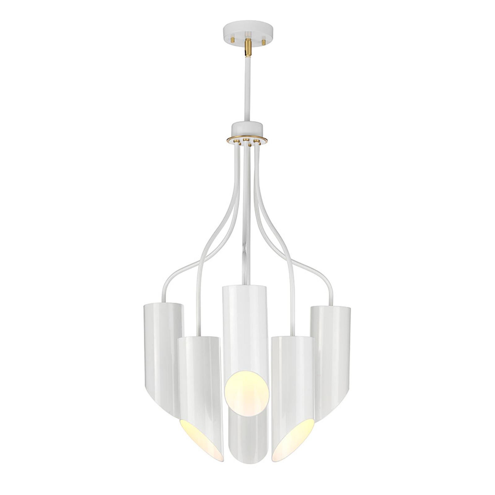 Hanglamp Quinto 6-lamps, wit/messing antiek