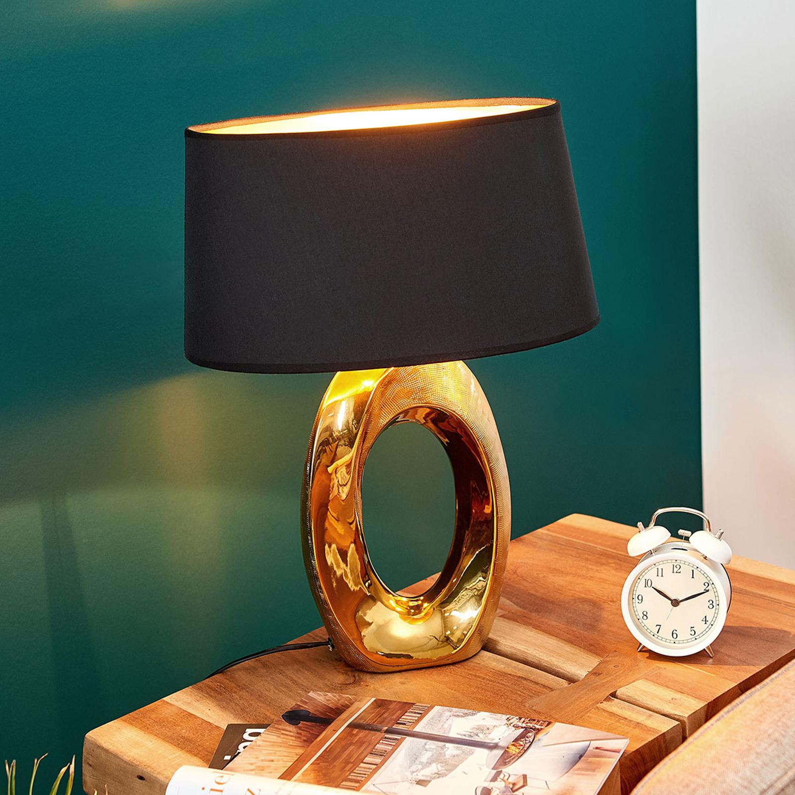 Lampa stołowa Quina, klosz z tkaniny, złota/czarna